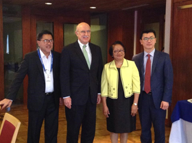(L-R) NCC Private Co-Chair Guillermo Luz, Heritage Foundation's CTE Director Ambassador Terry Miller, DOLE Secretary Rosalinda Baldoz, and Heritage Foundation's Senior Policy Analyst Anthony Kim after the meeting on Economic Freedom Index 2015.